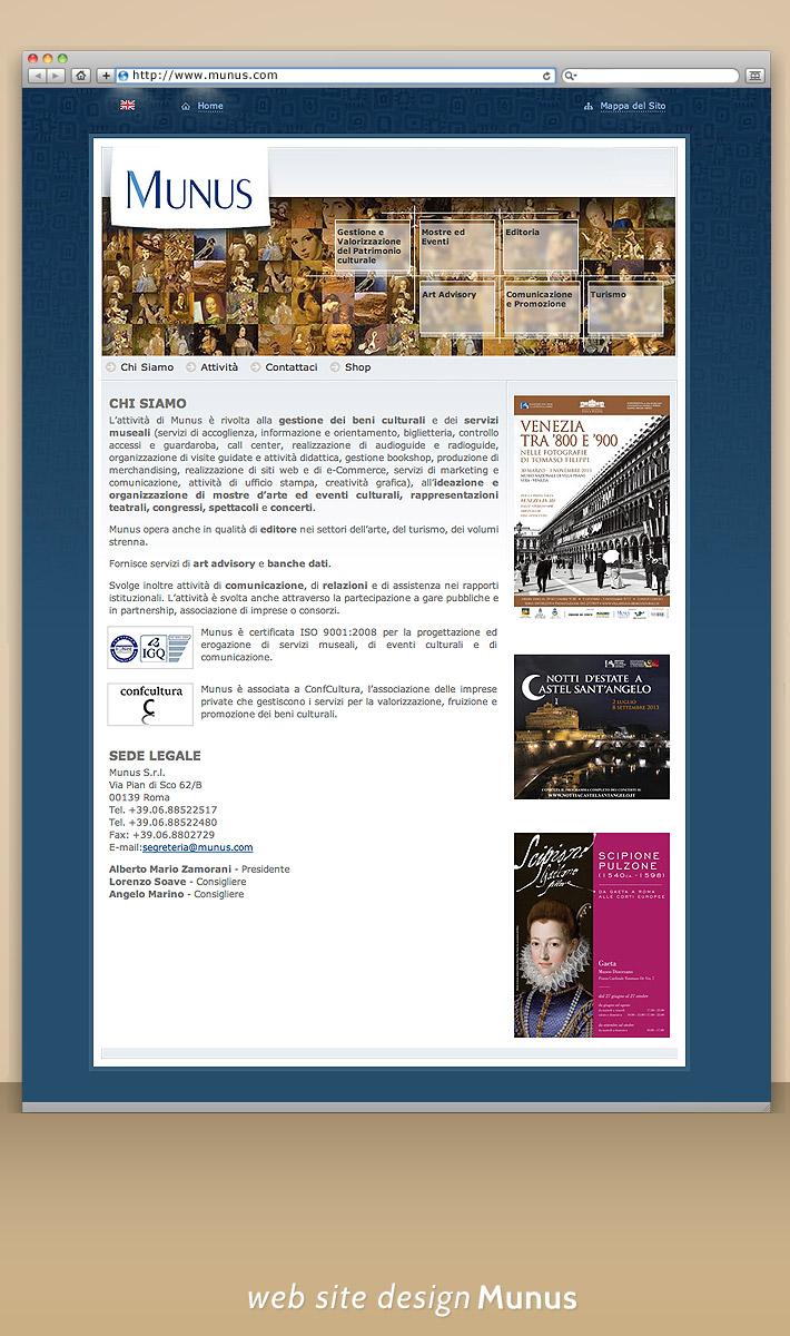 Web design: Munus - arta si cultura