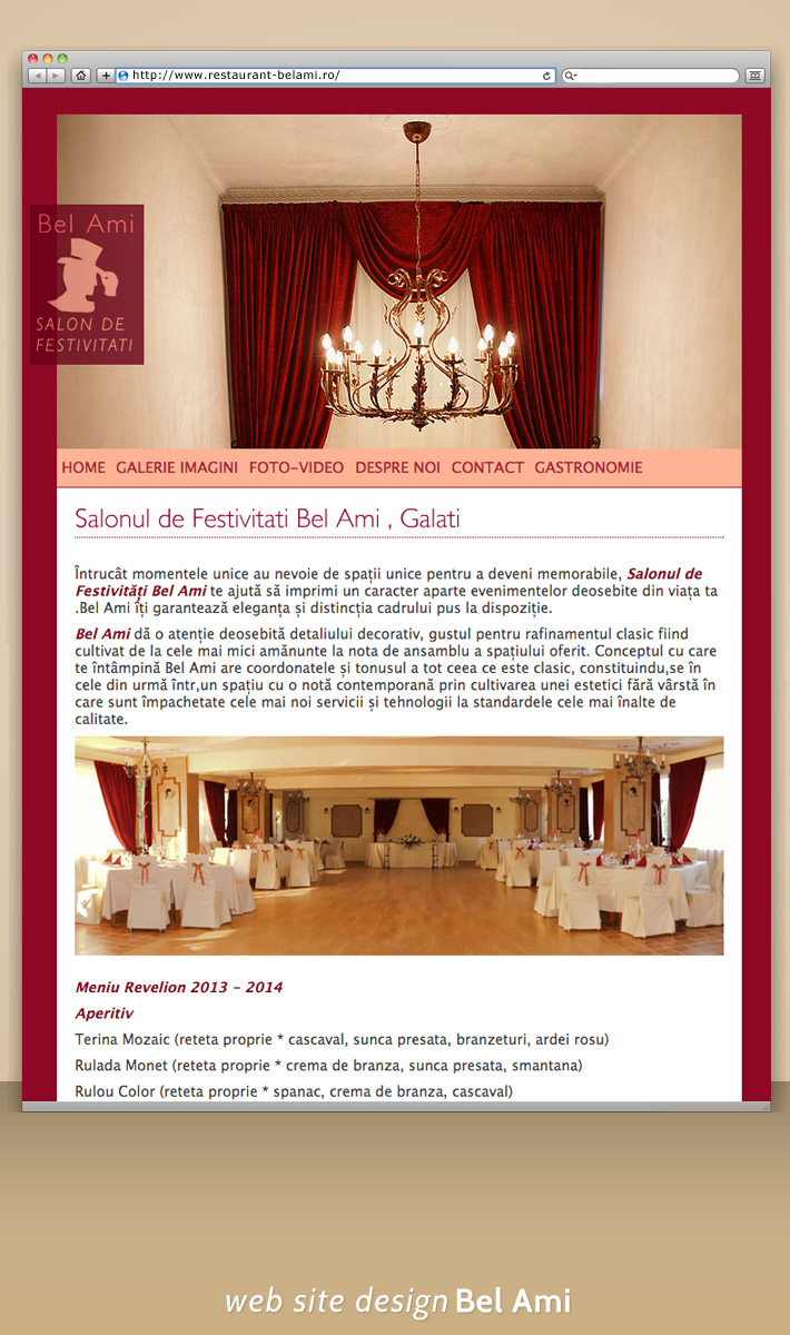 Restaurant Belami site web prezentare