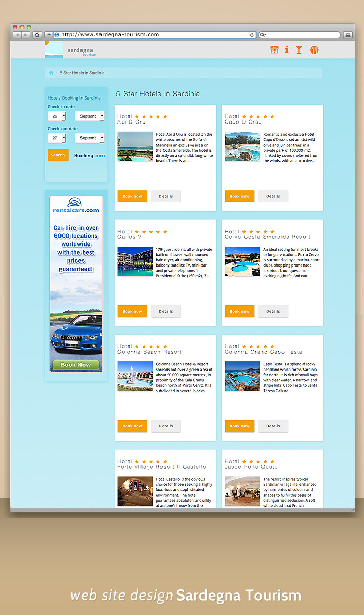 Web site mobile - design portal turistici