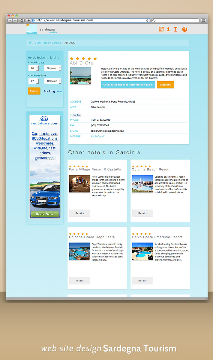 Mobile web design - portal turistic -site web mobile