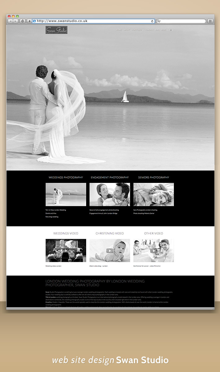 Siteweb mobile Swan Studio UK - London